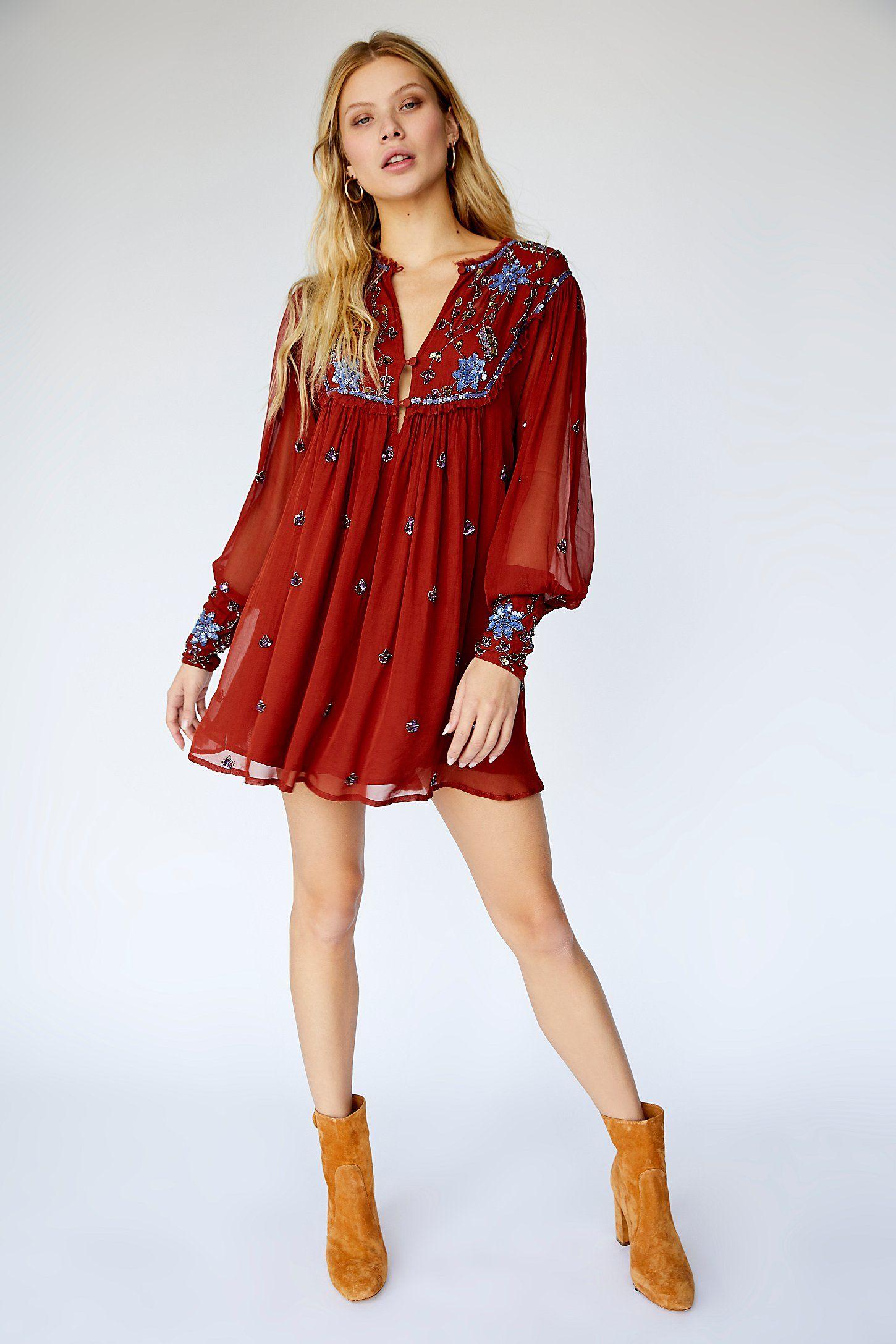Long Red Boho Dress