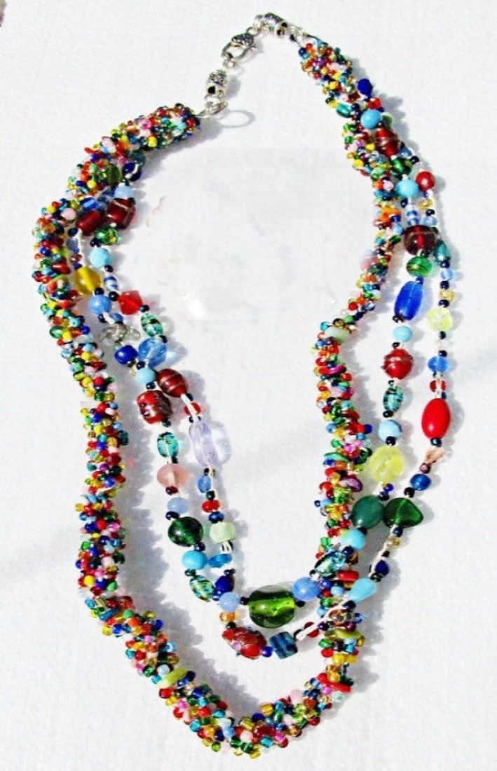 79.00$  Watch here - http://viigc.justgood.pw/vig/item.php?t=mge8wgb47372 - Chunky Treasure Necklace Artisan Made Crochet Vintage & Modern Glass Beads 79.00$