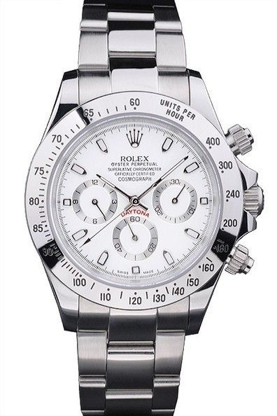 7f2969ace7a Replica Rolex Oyster Perpetual Daytona White Dial Polished Stainless Steel  Case And Bezel Watch With Brushed And Polished Stainless Steel Bracelet