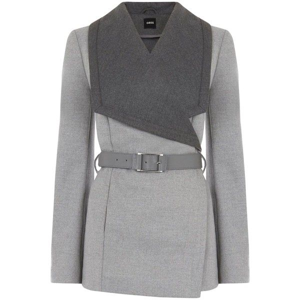 Oasis Khloe Belted Drape (2.427.860 VND) ❤ liked on Polyvore featuring outerwear, coats, grey, women, drape coat, oasis coat, duster coat, grey coat and fur-lined coats