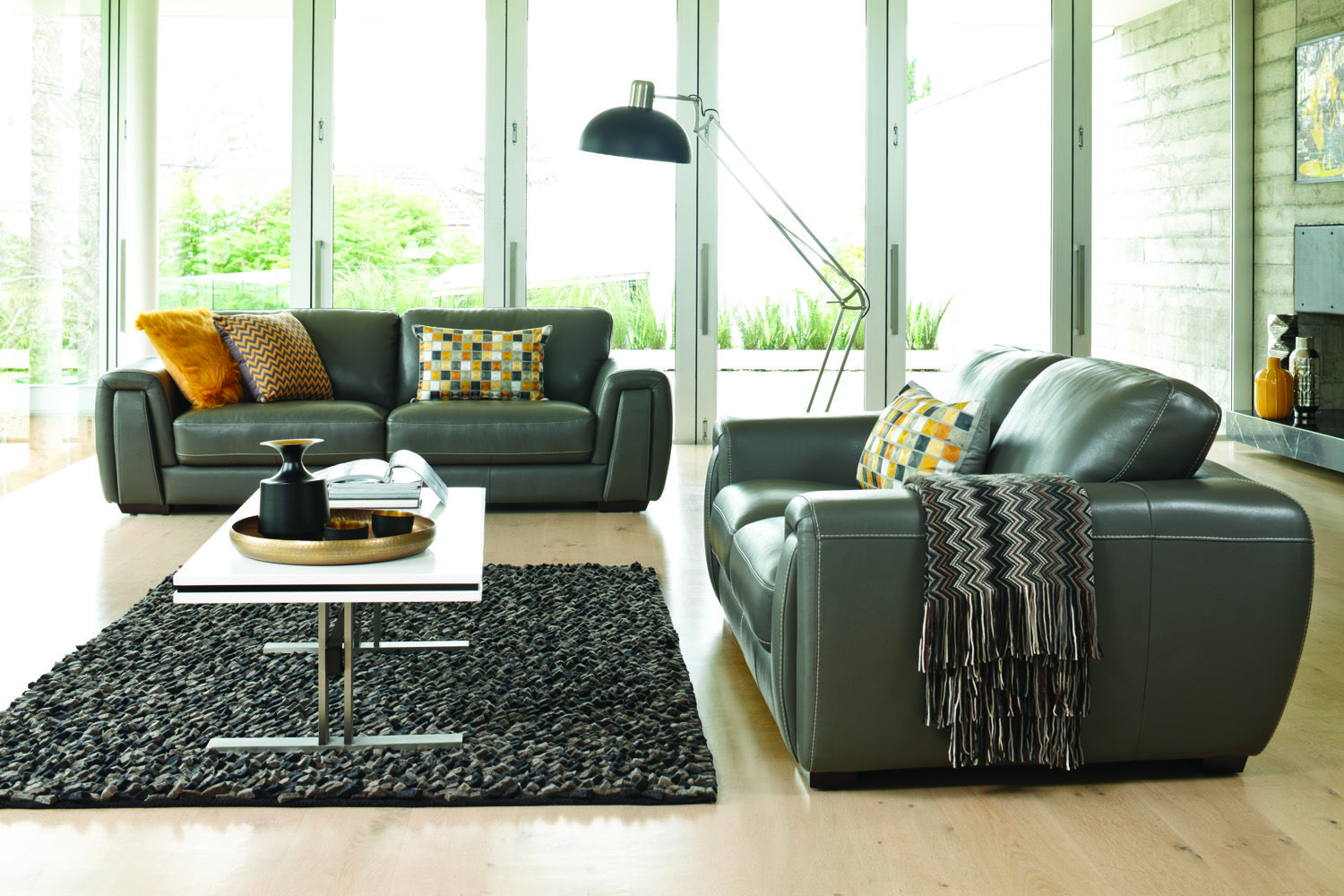 Harvey Norman - Darcy 3+2 Lounge Suite Leather - Steel | Home ...