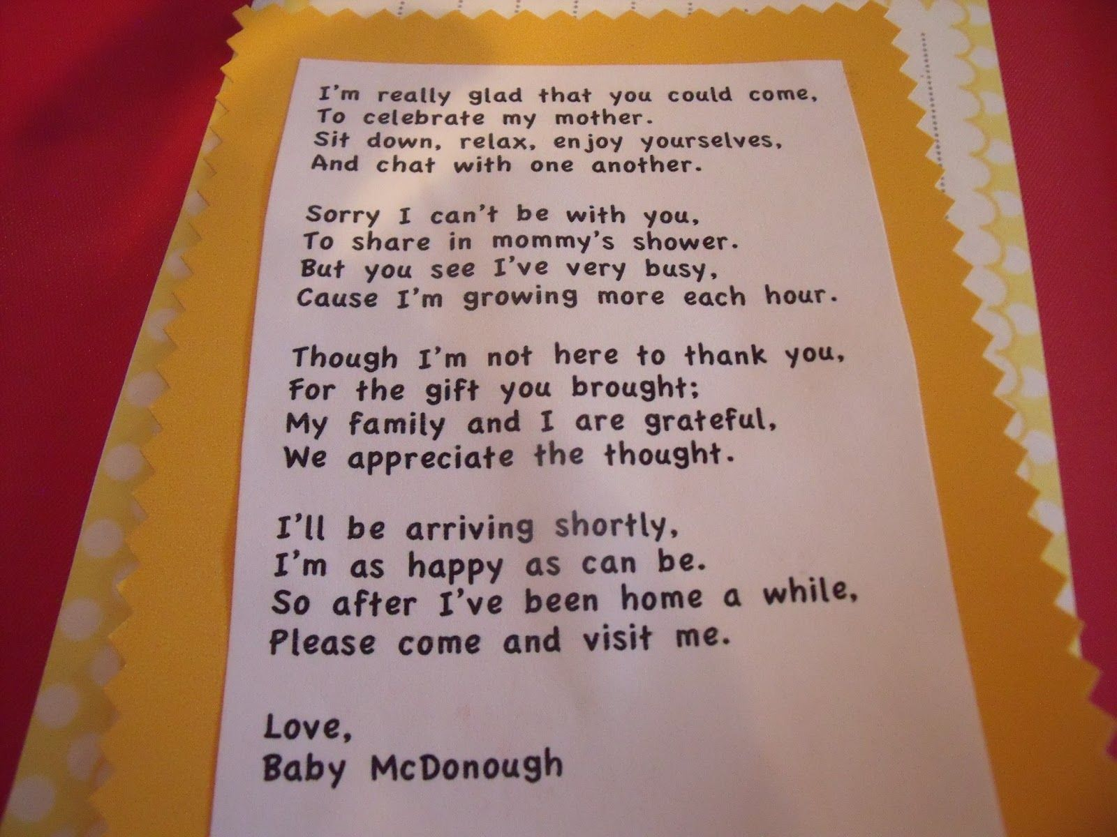 Thank You Quotes For Wedding Shower Gifts Adorable Baby And Poems In