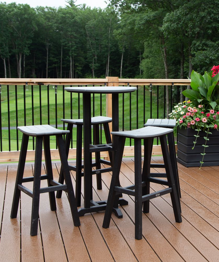 Polywood Contempo Bar Height Table With Matching Saddle Seat Bar