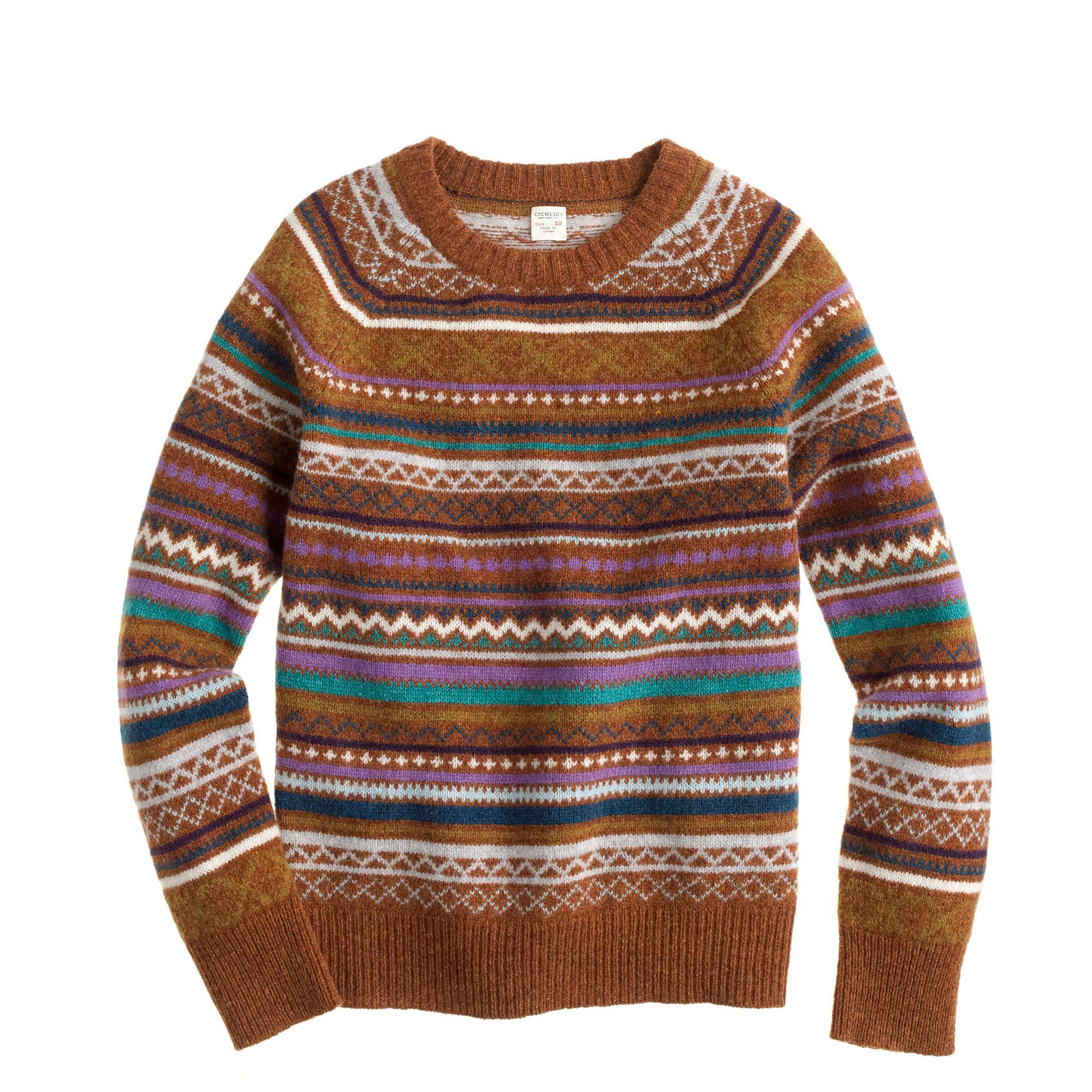 Boys' lambswool Fair Isle sweater : crewnecks & shawls | J.Crew ...