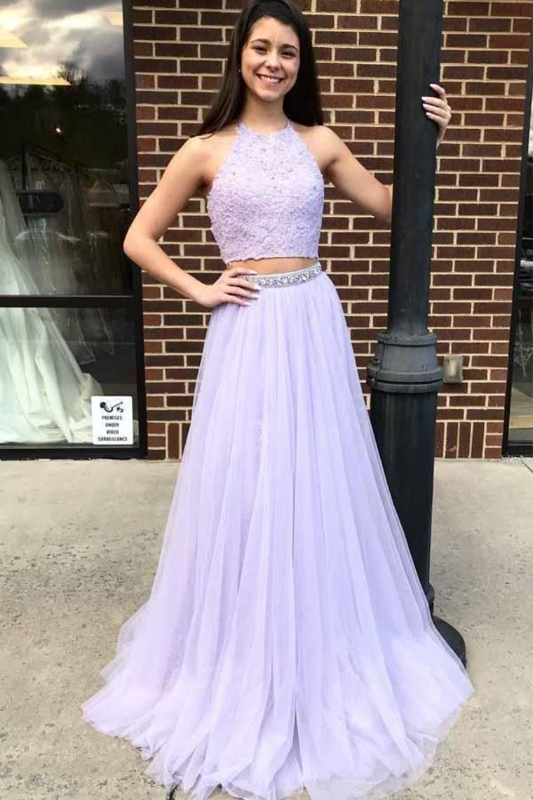 Charming 2 Pieces Long Halter Open Back Flowy Violet Tulle