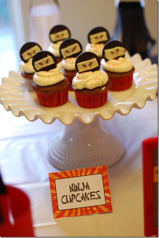 DSC75844x6 ninja birthday party Pinterest Ninja cupcakes