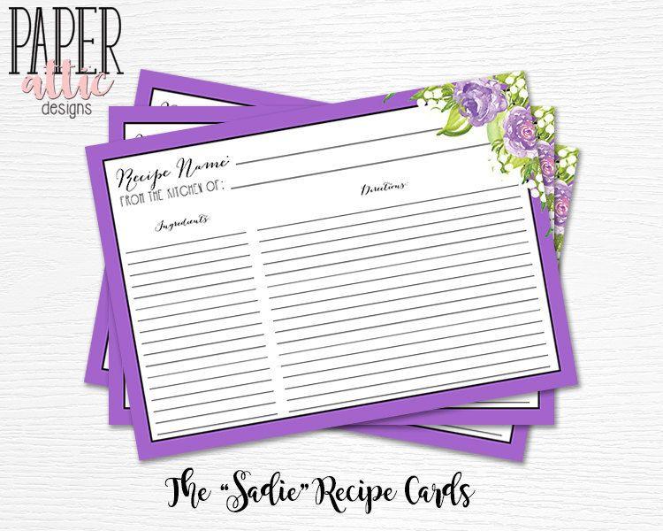 purple bridal shower recipe card purple recipe cards for shower pink bridal shower pink kitchen bridal shower flower recipe sadie