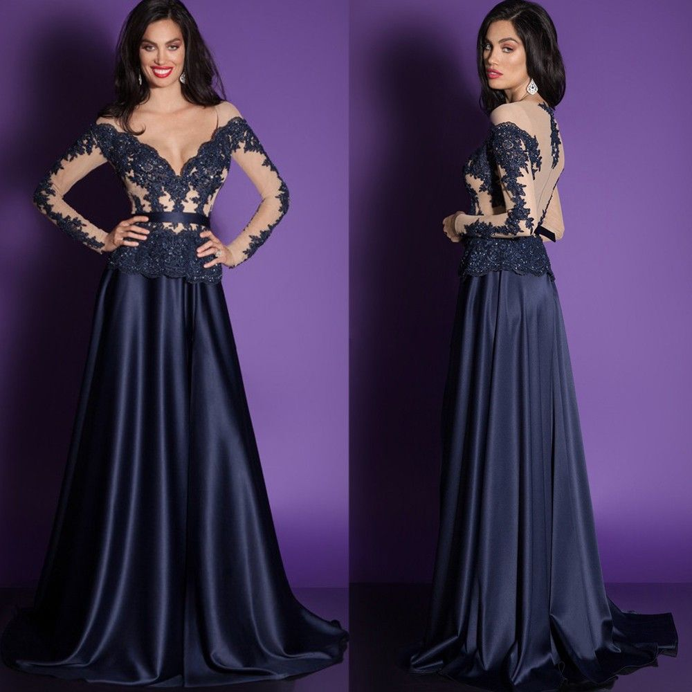 Click to buy ucuc elegant long sleeve formal evening dress lace