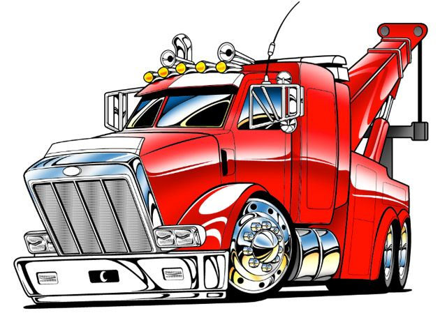 Cartoon Tow Truck Here Is The Finished Line Art Ready For