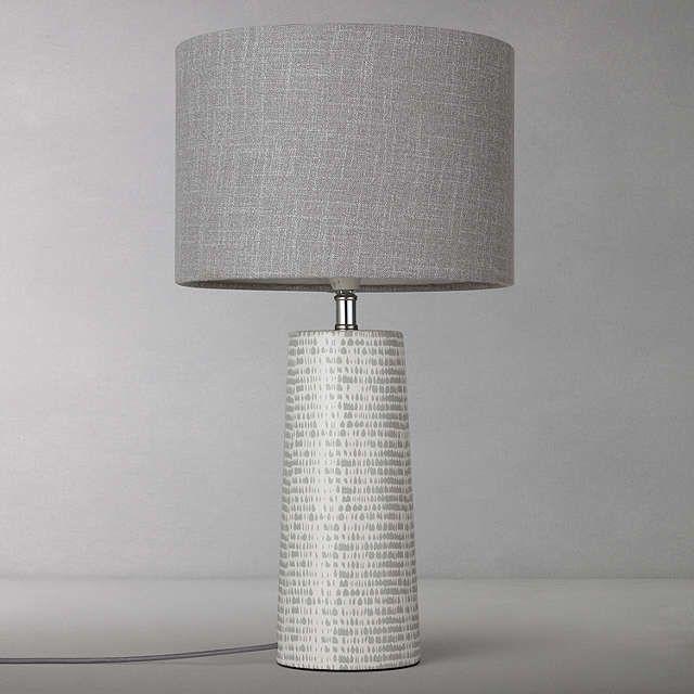 John Lewis Minna Small Ceramic Cylinder Table Lamp Grey