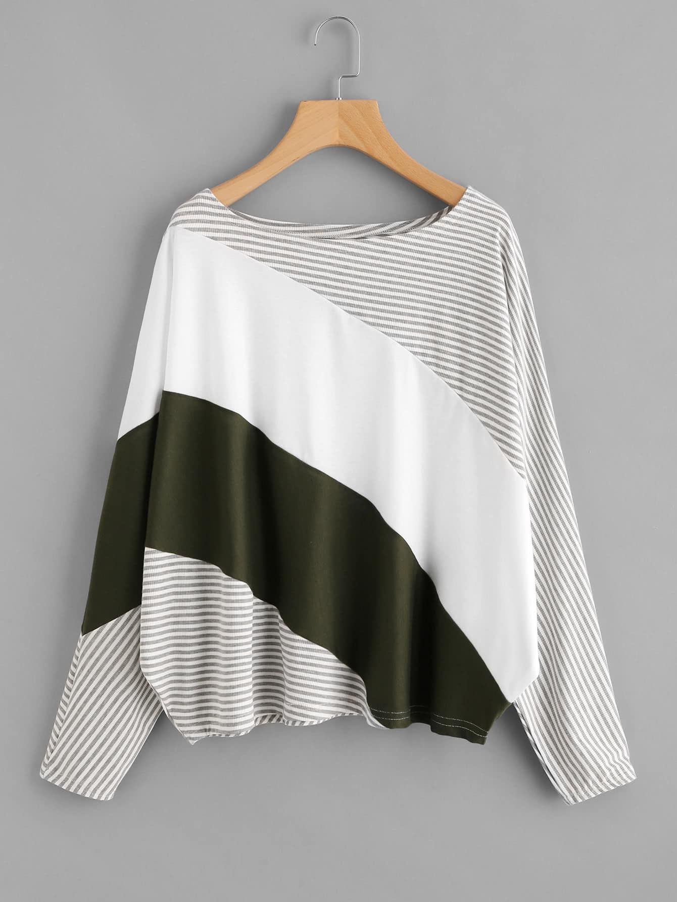 c928a187aec751 Women Casual Striped Oversized Boat Neck Long Sleeve Batwing Sleeve  Multicolor Cut And Sew Striped Tee