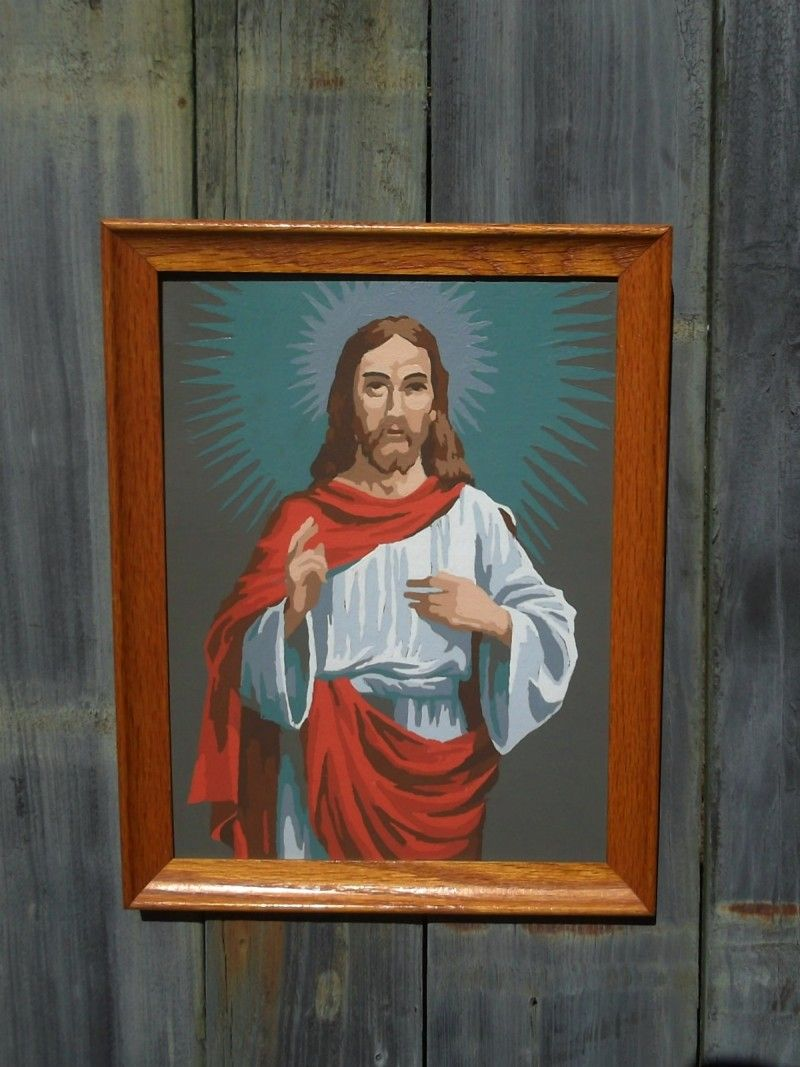 Craft master paint by number kits - Retro Paint By Numbers Painting Of Jesus From 1964 Craft Master Kit Vintage