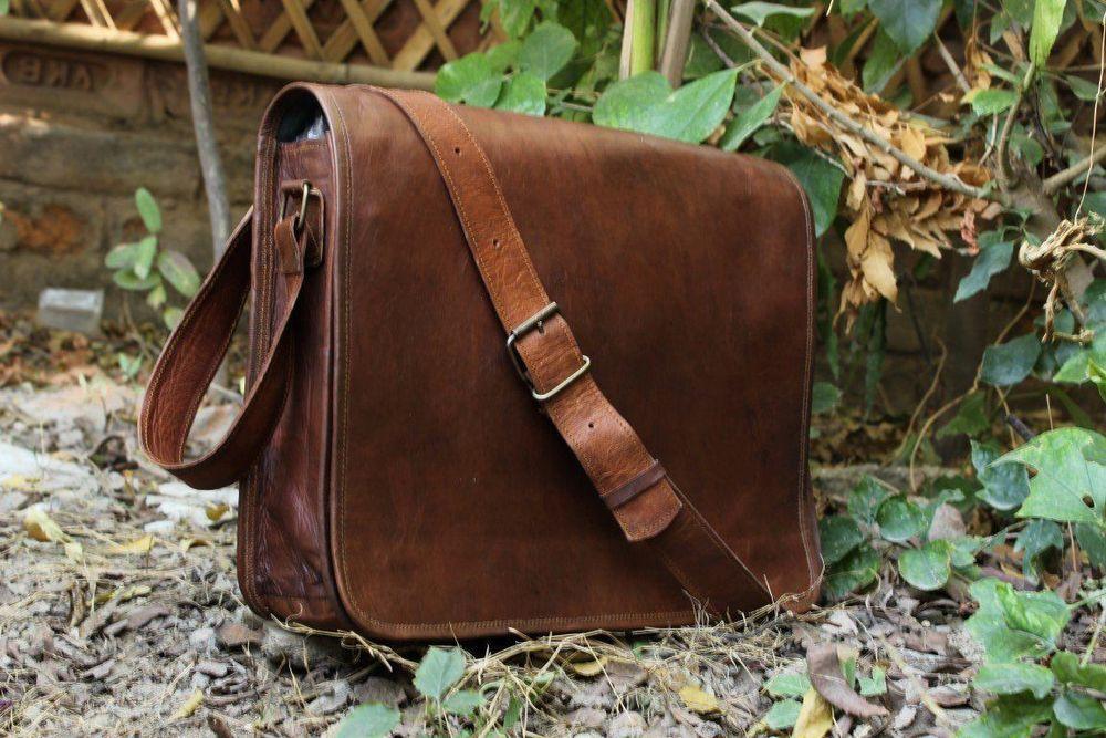 New Men/'s Vintage Leather Full Flap Messenger Laptop Brown Satchel Shoulder Bag