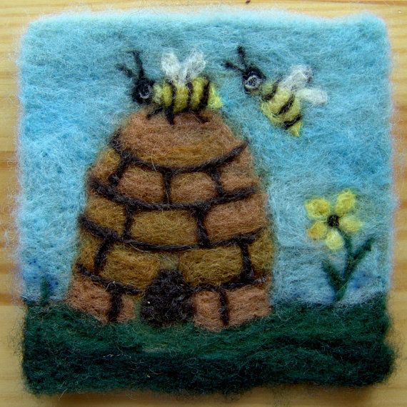 017 Honey Bee Thyme Tile Needle Felting Pattern Kit By Fiberthyme 12 50 Needle Felting Quilting Crafts Sewing Projects