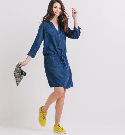 08234be5357 Fluidhang denim dress rinse denim - Promod   S/S My Style   Dresses ...