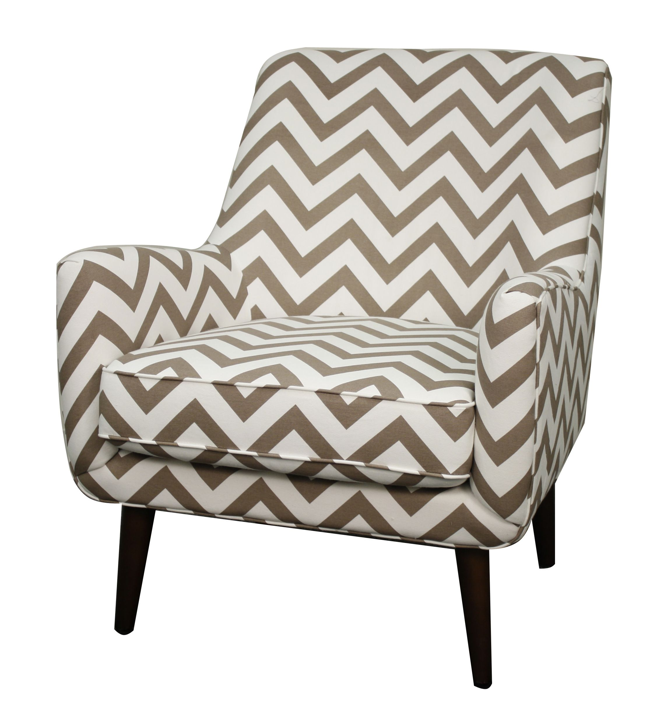 Zoe Fabric Arm Chair in Chevron Ecru Pattern. Constructed in Solid ...