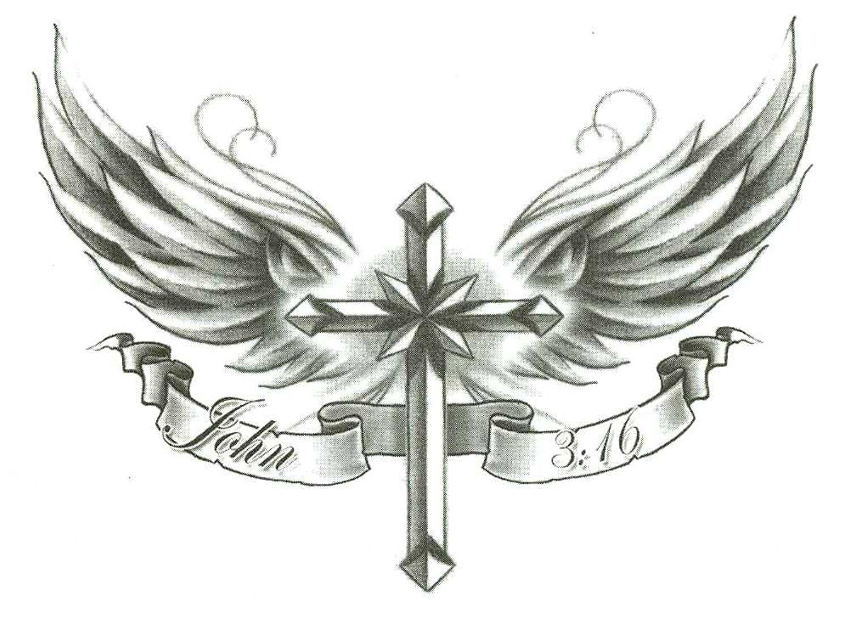 Cross W Wings John 3 16 Temporary Body Art Tattoos 2 5 X 3 5 Cross With Wings Tattoo Tattoos Wings Tattoo