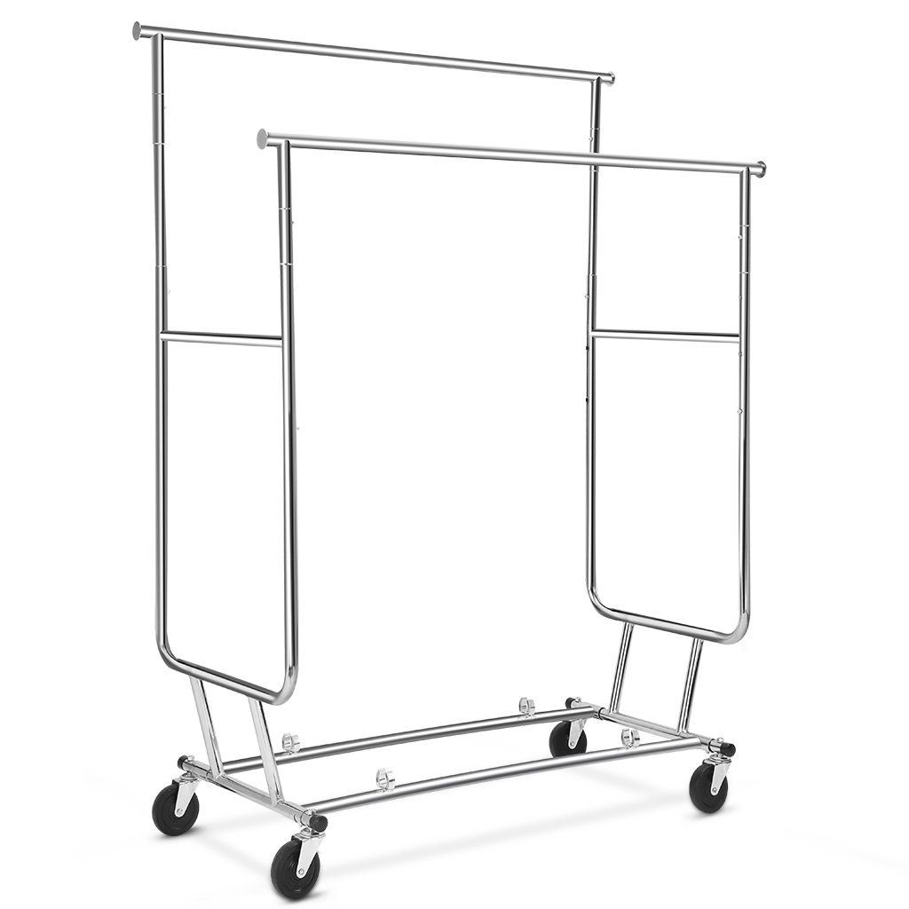 Floureon collapsible adjustable double rail rolling clothing collapsible clothes rack hanging racks hanging storage