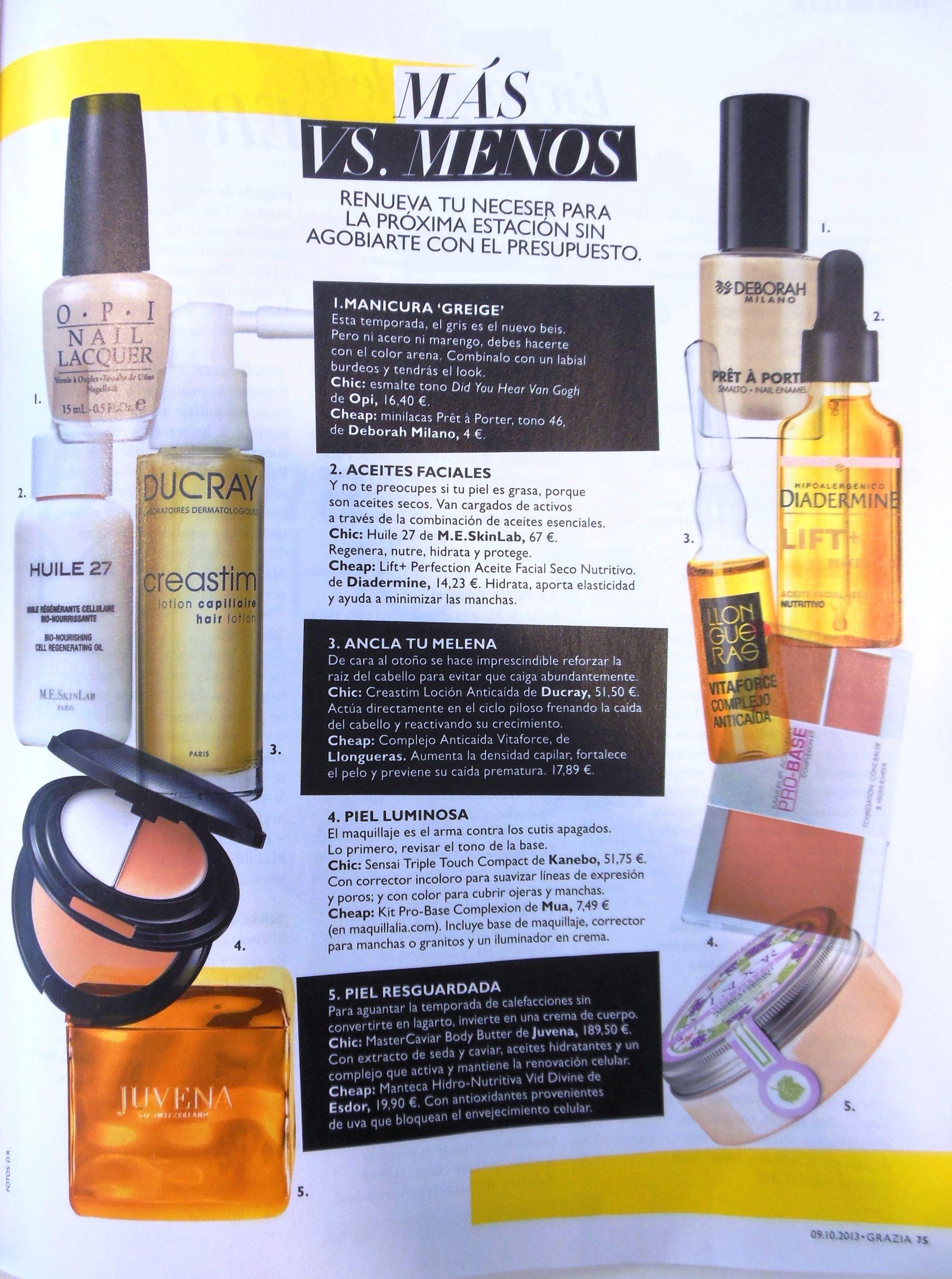Revista Grazia 9 de octubre de 2013. Más Vs Menos. Producto Creastim loción anticaída. Ducray
