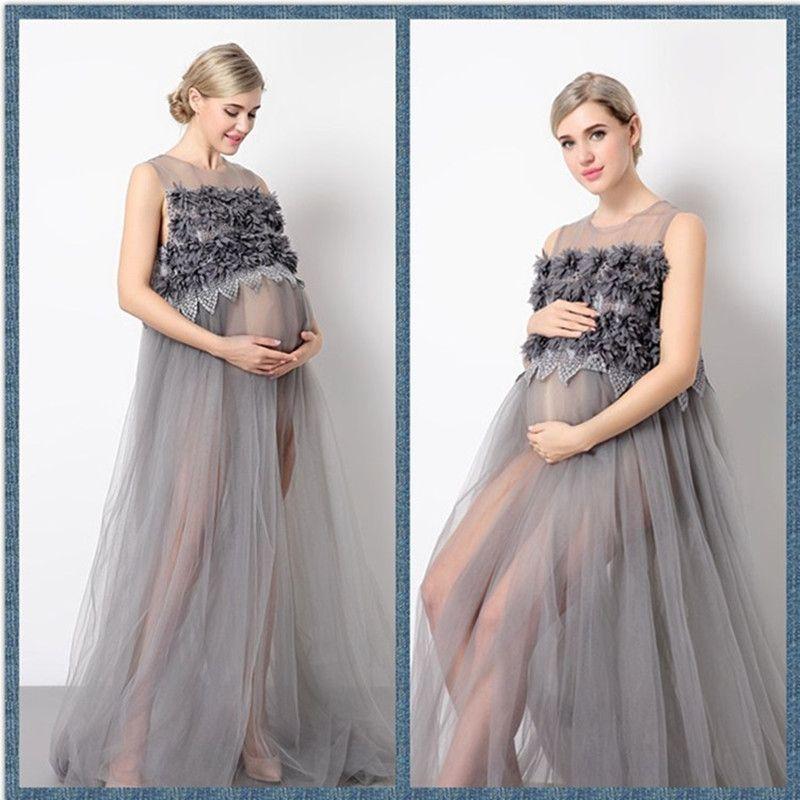 2017 Maternity Mama Gown Transparent Maternity Dresses Studio Photo