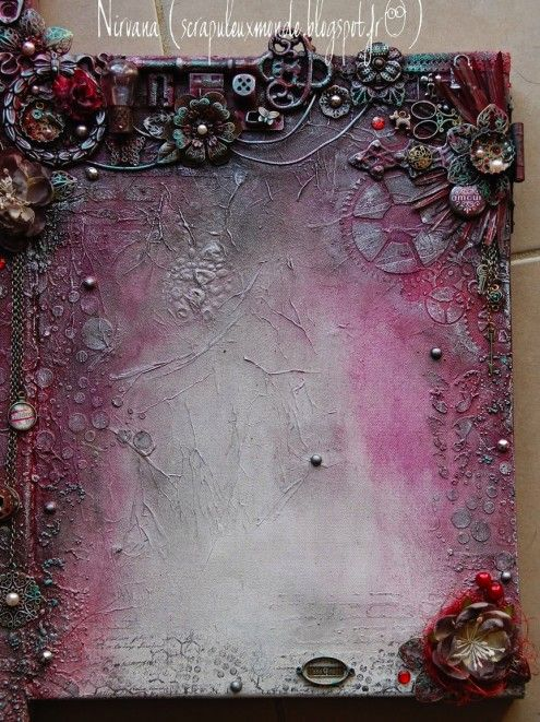 mixed media canvas by Peggy Bertheas via Marjie Kemper's Tuesday's Texture Blog Series