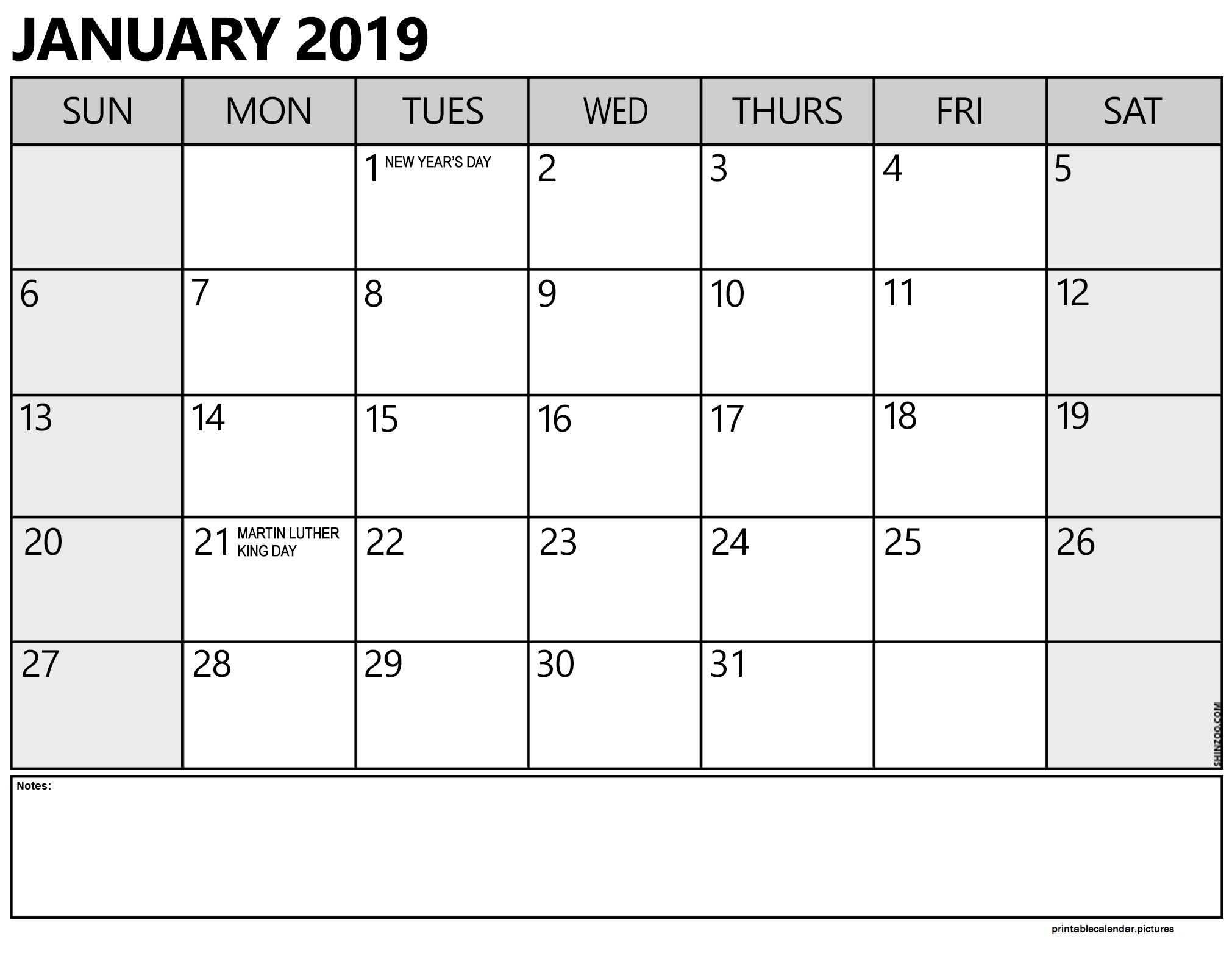 January 2019 Calendar With Holidays | Free Monthly Calendar