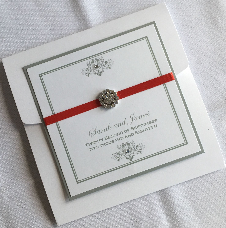 White,Silver and Red Pocketfold Wedding Invitation | Luxury Wedding ...