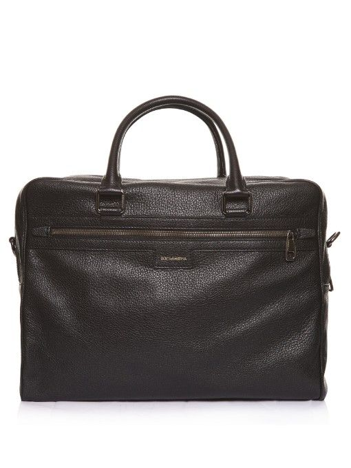 Dolce & Gabbana Grained-leather briefcase. Shop now at #MATCHESFASHION