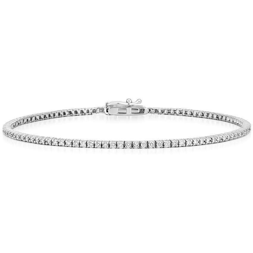 18k White Gold Diamond Tennis Bracelet 1 Ct Tw Tennis Bracelet Diamond Classic Jewelry Pieces Tennis Bracelet