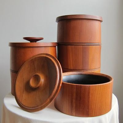 Dansk Teak Ice Buckets as Modern, Stackable Storage via Barking Sands Vintage