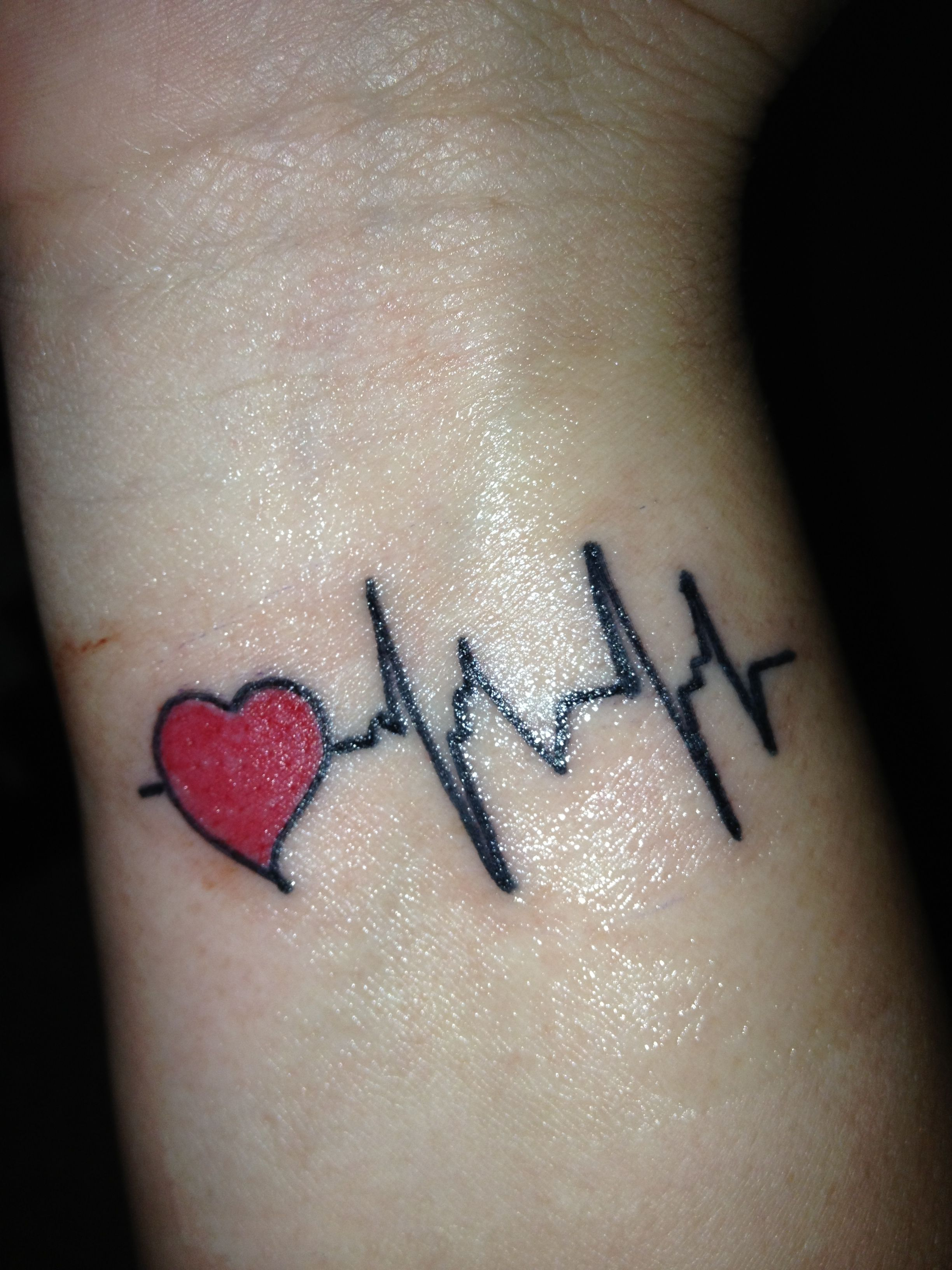 My heartbeat tattoo (With images) Heartbeat tattoo on