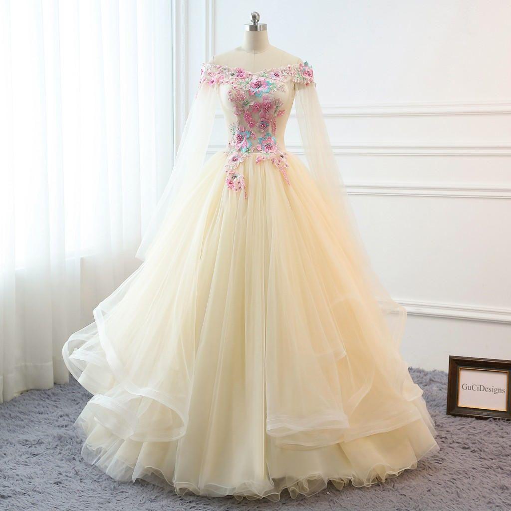 Panache Wedding Gowns: Custom Women Champagne Prom Dress Ball Gown Long