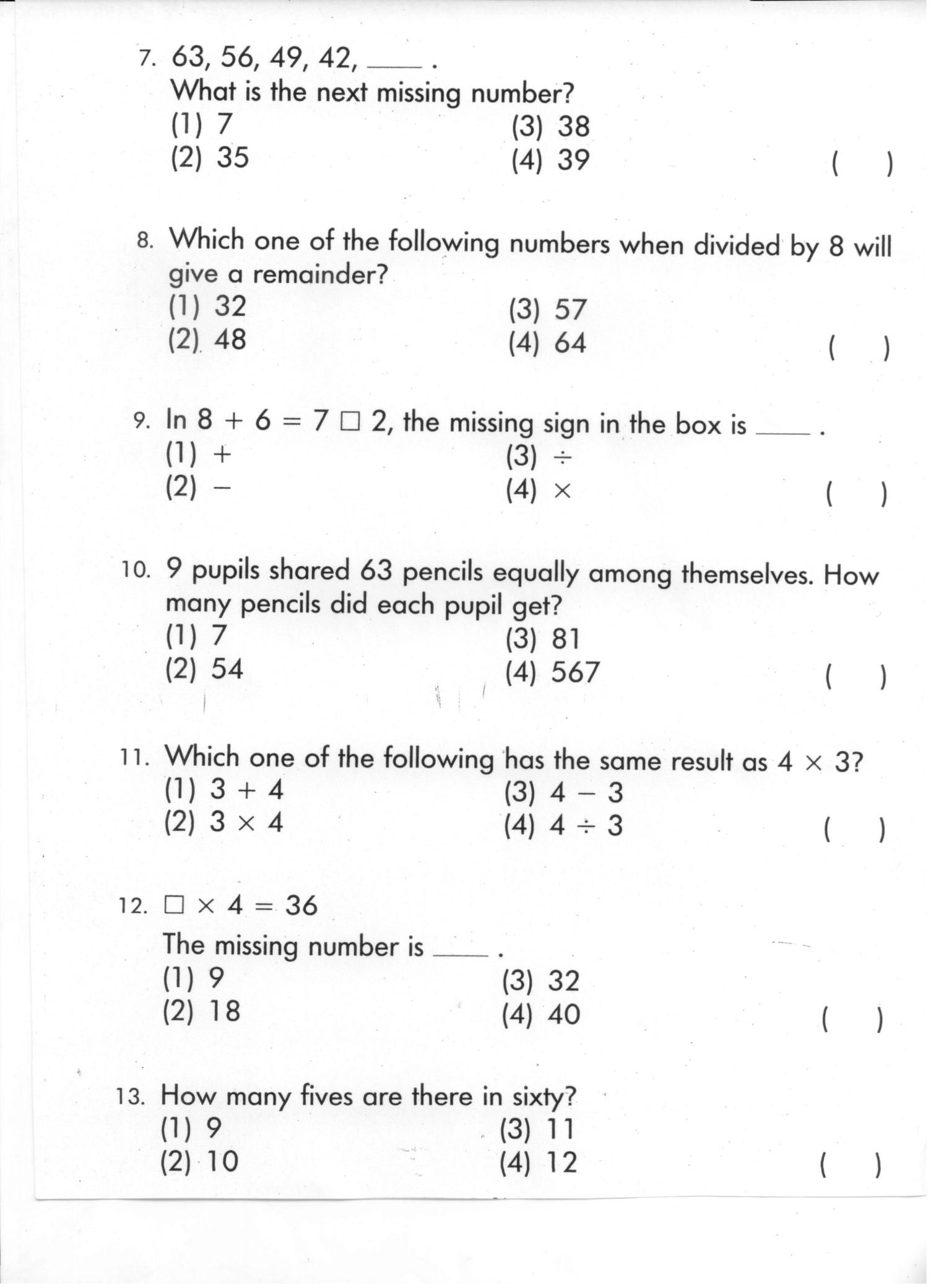 Class 3 Home Work Worksheets In
