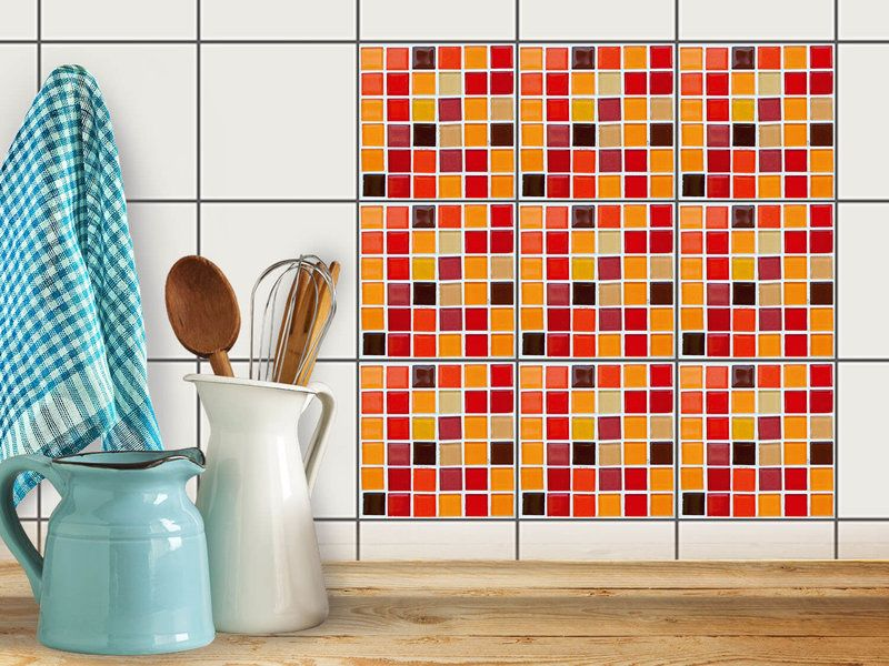 Fliesenfolie Küche fliesenfolie mosaik küche 10x10 cm rot orange 9 st küche