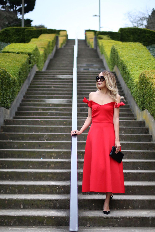 1f3e9787b5a Beyond Basic Blog Saloni Ruth Red Off The Shoulder Dress
