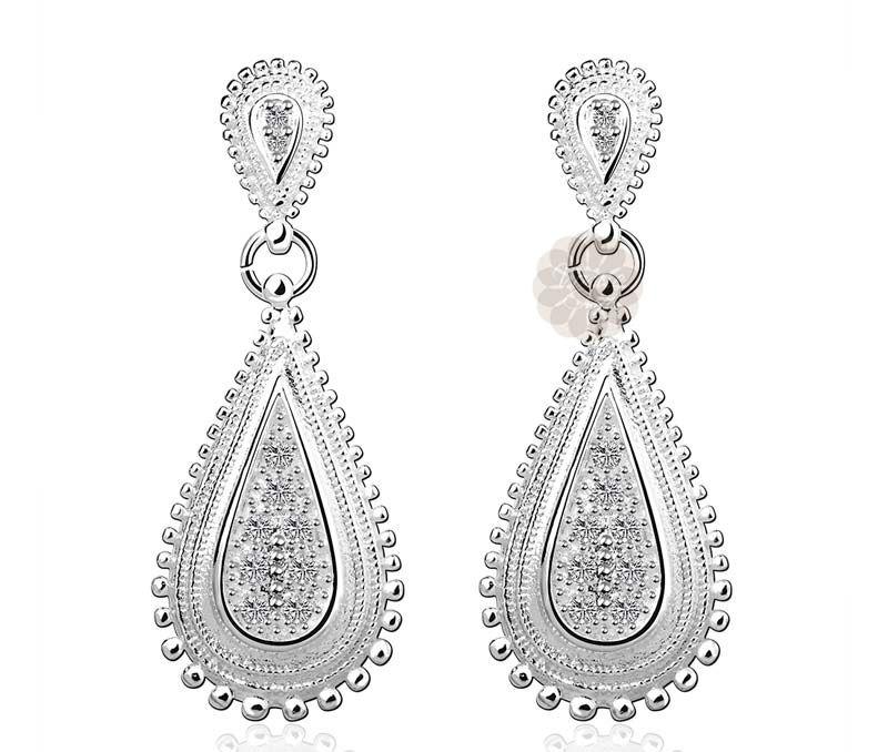 MoAndy Jewelry Silver Plated Women Stud Earring Cubic Zirconia Heart Silver