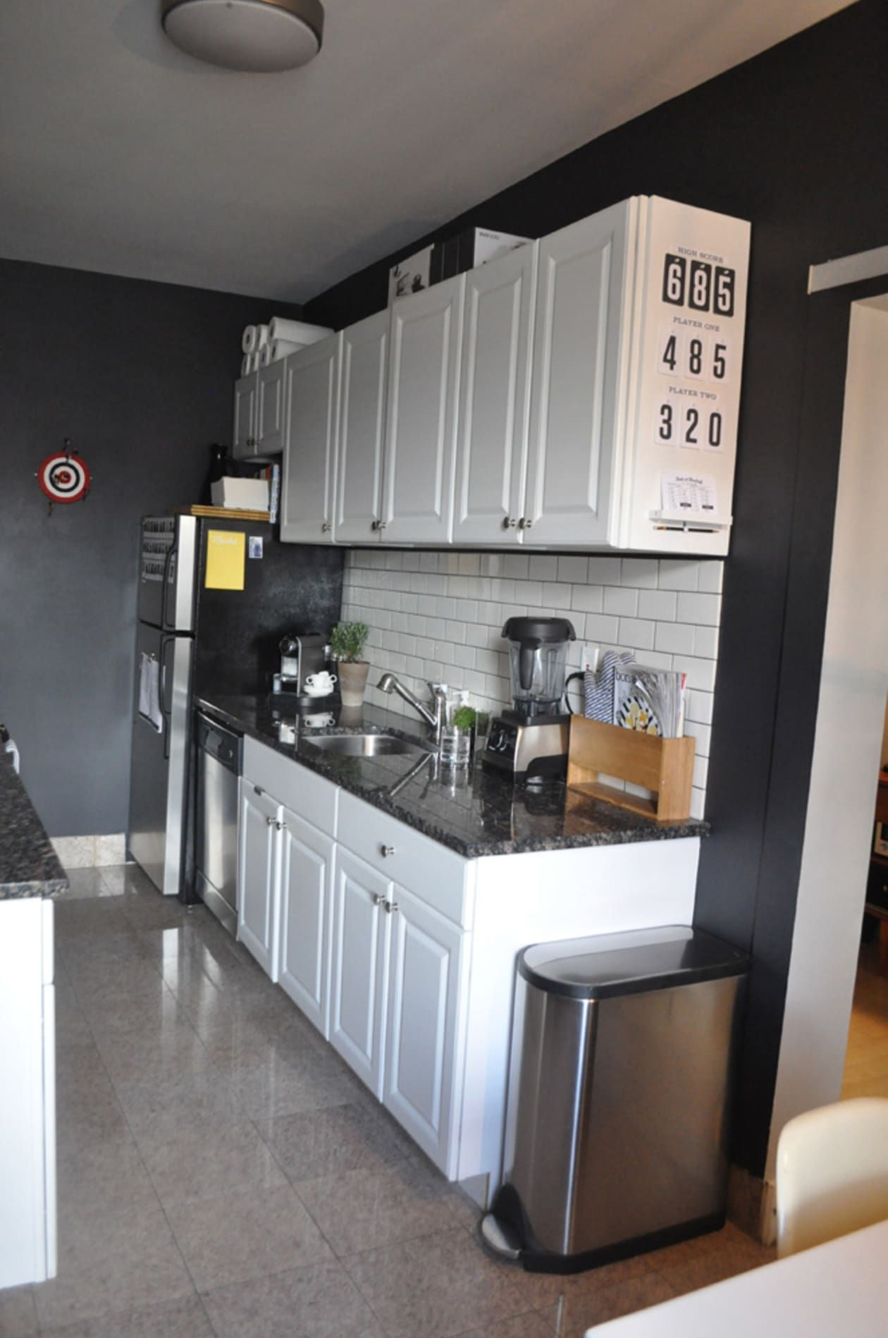 A Black and White Galley Kitchen
