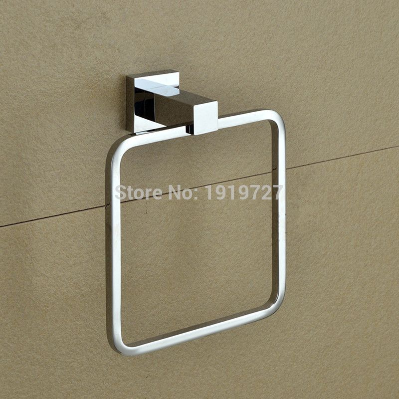 2017 Wholesale Solid Cooper Bathroom Accessories Square Style Bath Towel  Ring Holder Towel Bar