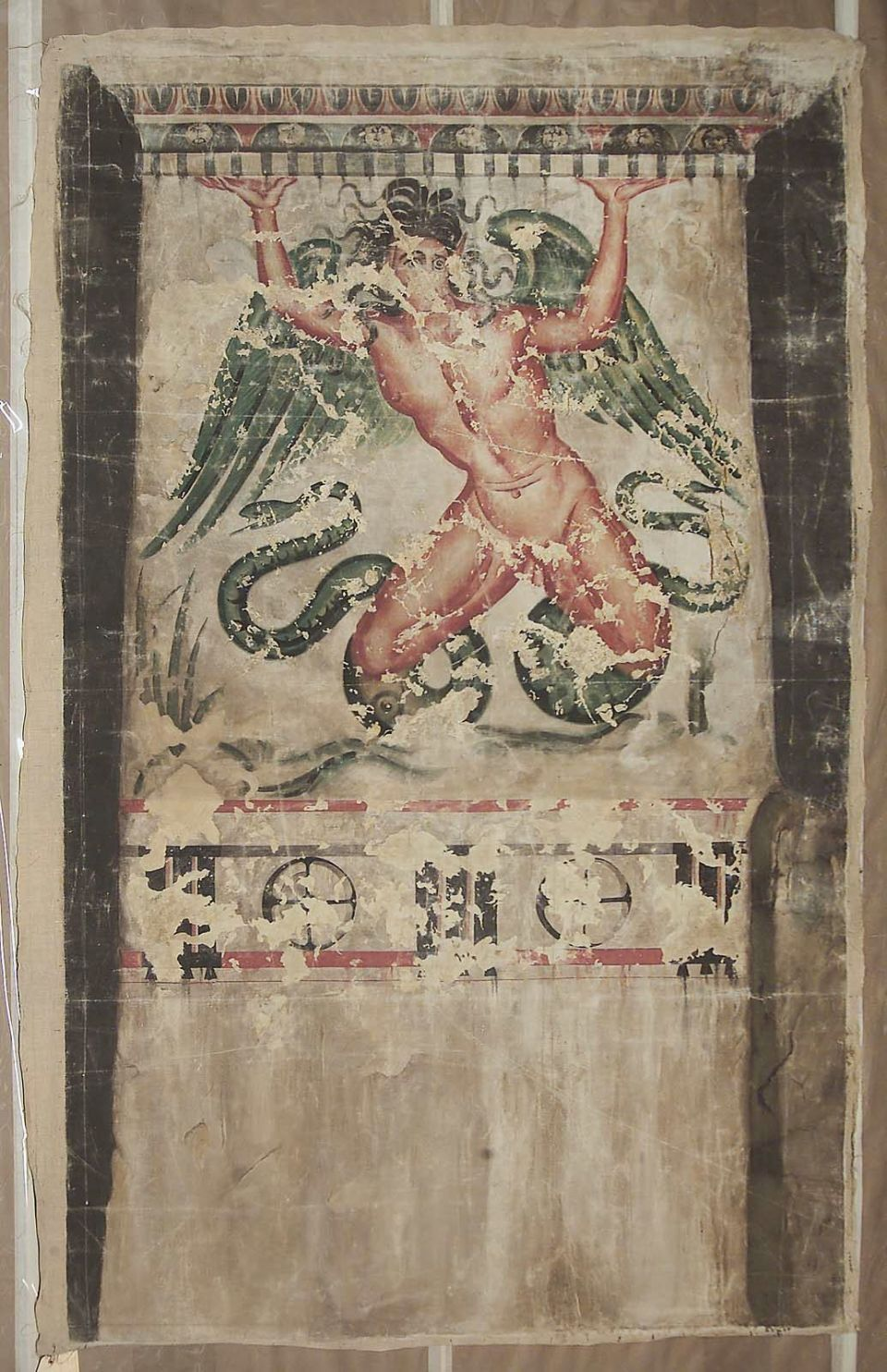 Demon. Original in the Tomba del Trifone (Tarquinia, late 3rd cent. B.C.). Typhon supporting the pillar, triglyphmetope frieze below, decorated moulding above. (NY Carlsberg Glyptotek Catalogue)