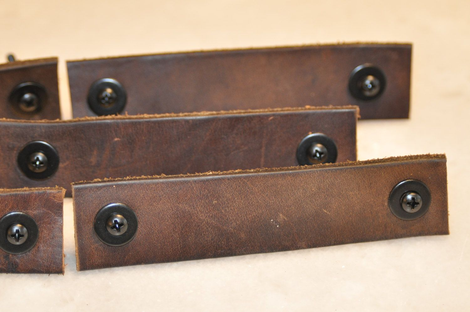 Set of Six Weathered Brown Leather Drawer Handles by MrsWhiteTwig on Etsy