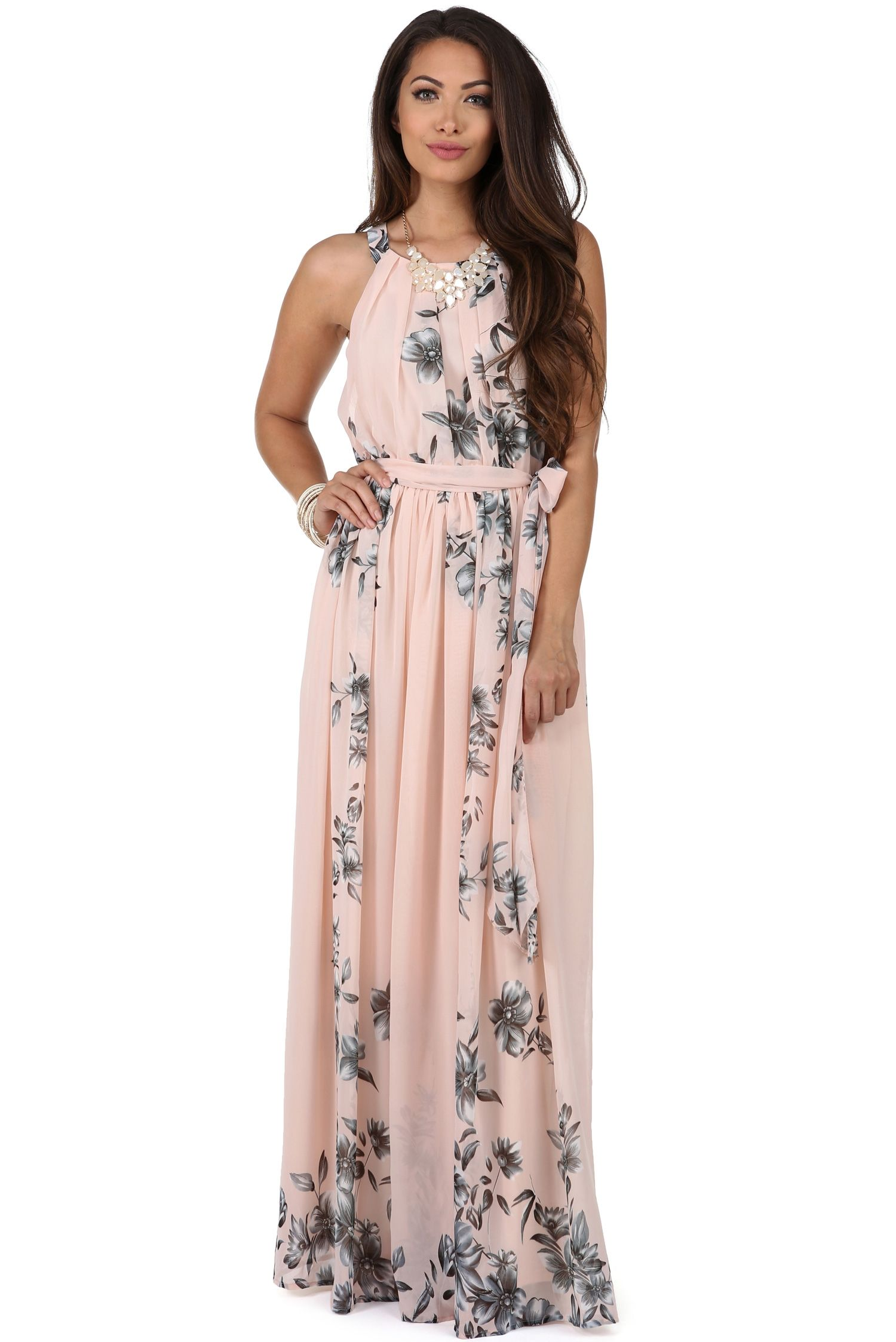 Pink dress to wear to a wedding  Soft Pink Romantic Floral Maxi Dress  Floral maxi dress Floral