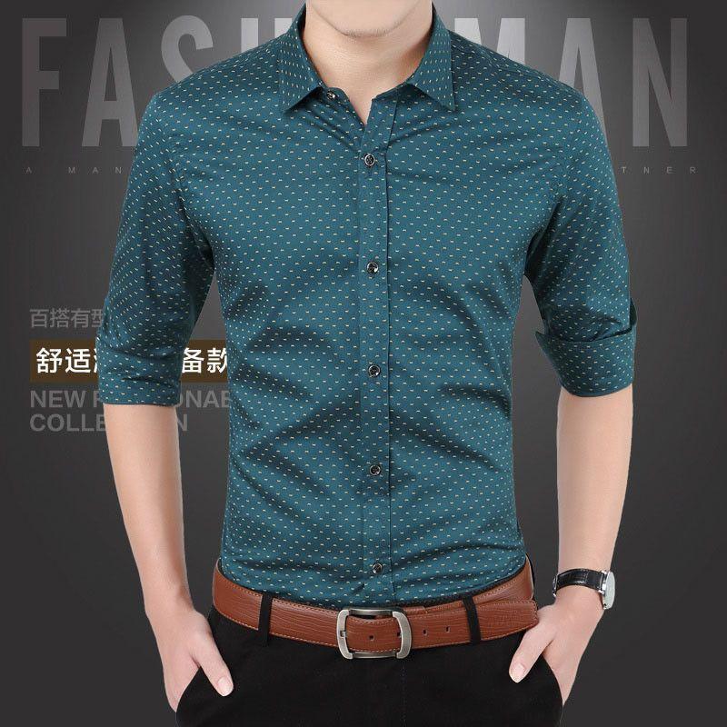 43b4c38a430 New Men Shirts Casual Slim Fit Long Sleeve Shirt For Male designer Print  Camisa Brand Dress Shirt Big Size M~5XL CA3