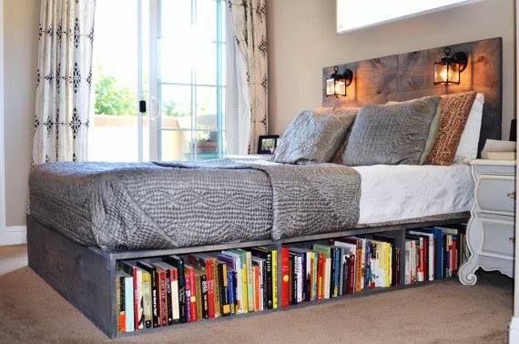 17 Delightful Ways To Make Your Book Collection More Interesting Small Bedroom Diy Bedroom Diy Diy Bedroom Storage