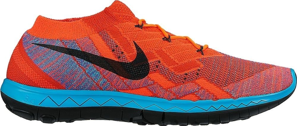 best cheap 35fde b047d Nike Free 3.0 Flyknit Mens Running Shoes 10 Hyper Orange Blue Lagoon 718418  802  Nike  RunningCrossTraining