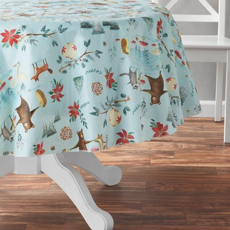 Mainstays Critter Vinyl Tablecloth 70 Inch Round Multiple Sizes Multicolor Vinyl Tablecloth Bed Table Blue Backgrounds