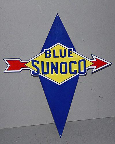 BLUE SUNOCO top QUALITY porcelain coated 18 GAUGE steel SIGN