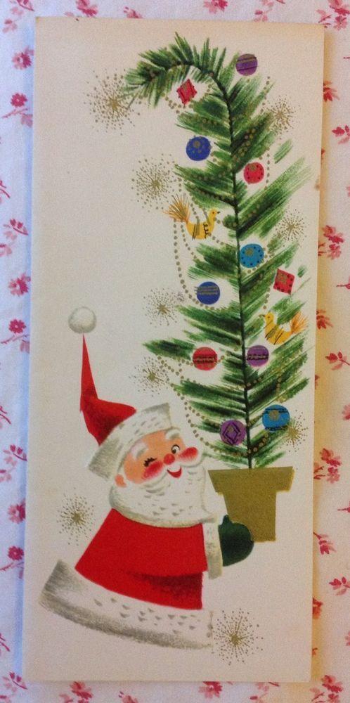 Vintage UNUSED Mid Century Christmas Card Santa Claus Carrying Decorated Tree