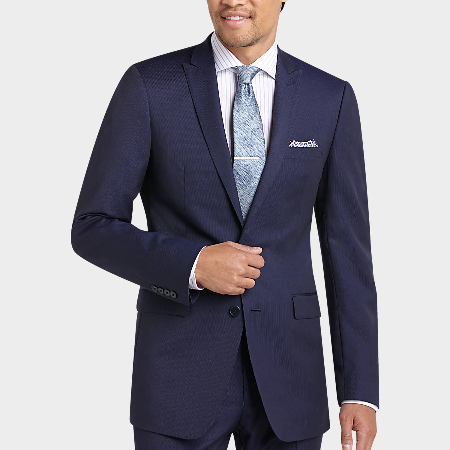 Buy a Calvin Klein Navy Stripe Slim Fit Suit and other ...