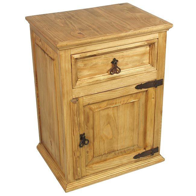 Best Rustic Pine Nightstand With 1 Drawer 1 Door Rustic 640 x 480