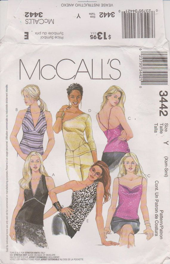 McCalls 3442 Sewing Pattn  Halter Tops  Sizes by n2Imaginations (Craft Supplies & Tools, Patterns & Tutorials, halter, top, strap, pleats, ties, trim, draped, jewel, off the shoulder, sleeves, summer, fashion)